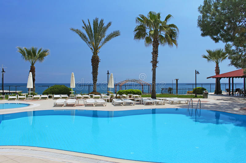 Swimming pool area in Antalya, Turkey stock photos