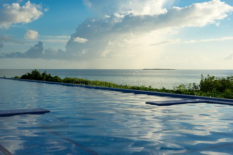 Swimming pool with Atlantic ocean view, Cayo Guillermo, Cuba royalty free stock photo