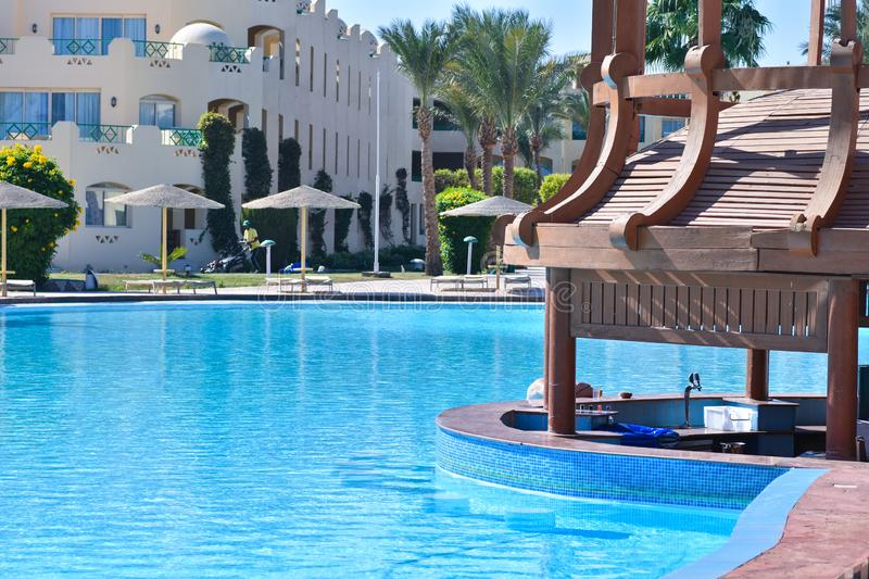 Swimming pool with bar on site in Egypt. Swimming pool with bar on site Egypt stock images