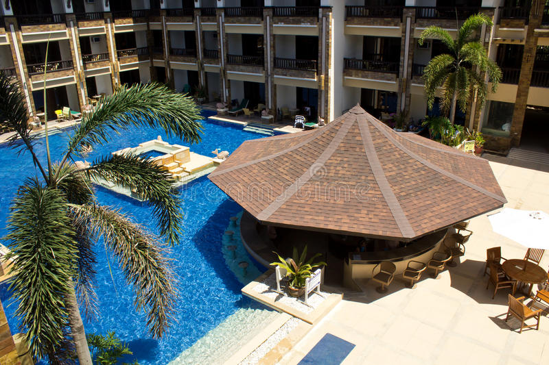 Swimming pool and bar. At tropical resort, Philippines, Boracay royalty free stock photos