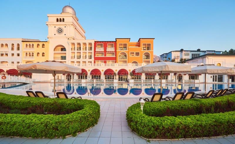 Swimming pool and beach of luxury hotel. Type entertainment complex. Amara Dolce Vita Luxury Hotel. Resort. Tekirova royalty free stock photos