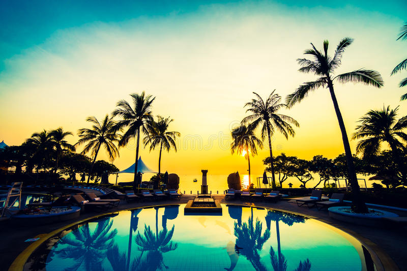 Download Swimming pool stock image. Image of palm, swimming, sunrise - 71798973