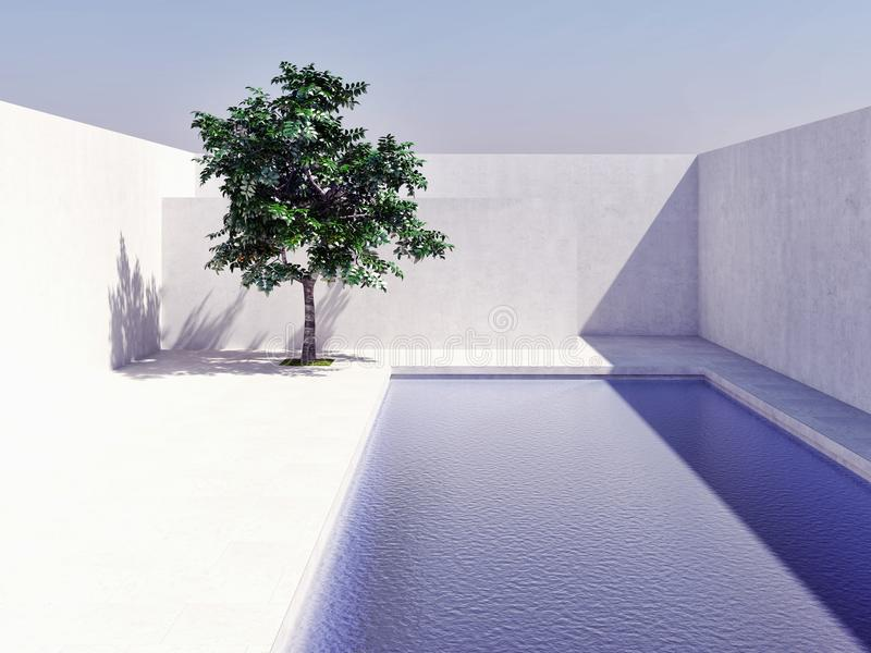 Swimming pool with blue sky sun tree computer generated image 3d rendering illustration stock photos