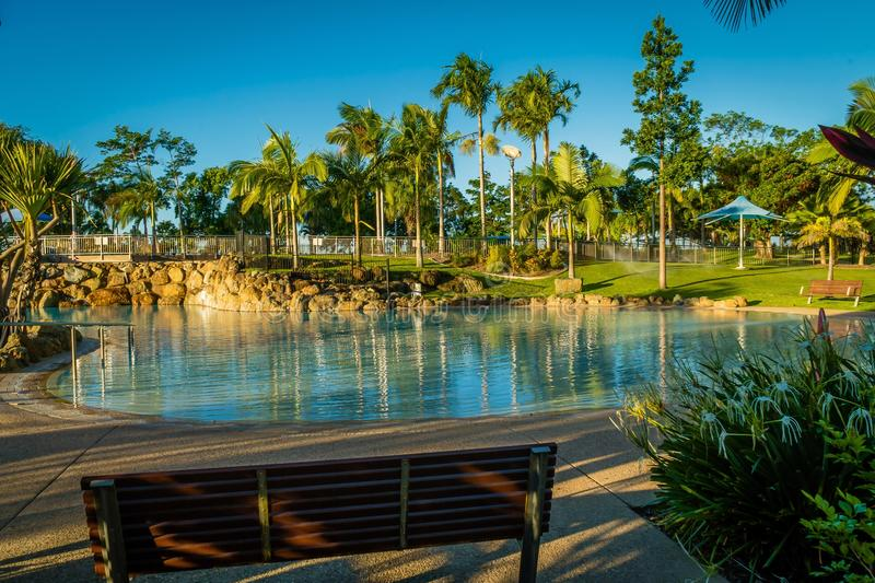 Swimming pool of bluewater lagoon in Mackay, Queensland royalty free stock photo