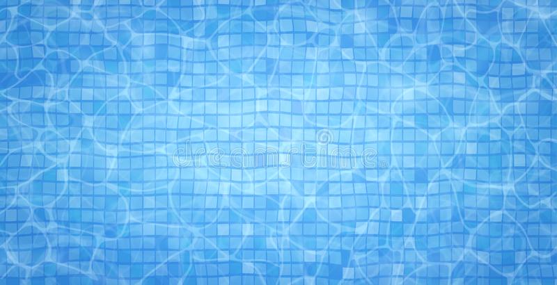 Swimming pool bottom caustics ripple and flow with waves background. Summer background. Texture of water surface. Overhead view. Vector illustration background vector illustration