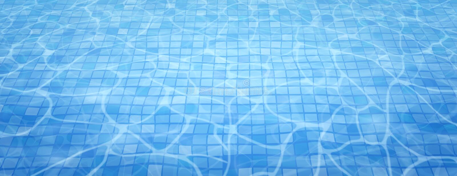 Swimming pool bottom caustics ripple and flow with waves background. Summer background. Texture of water surface royalty free illustration