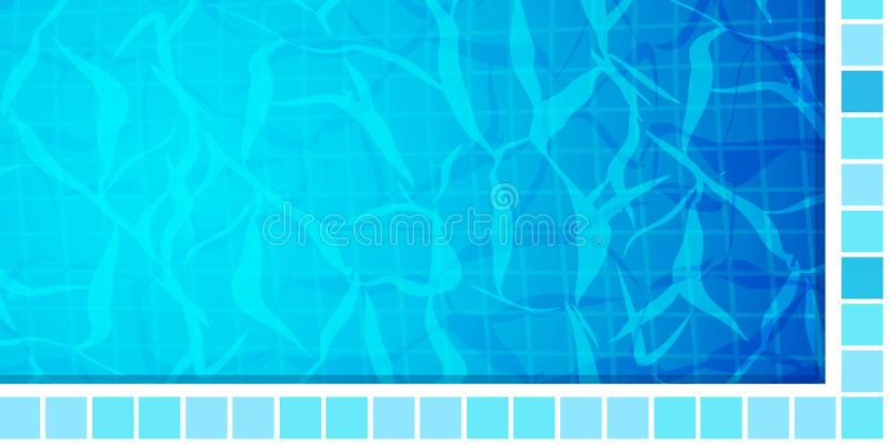 Swimming pool bottom caustics ripple and flow with waves background. Texture of water surface. Overhead view. Vector vector illustration
