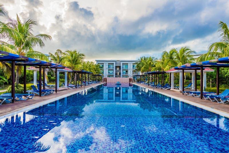 Swimming pool at Cayo Santa Maria, Cuba royalty free stock images