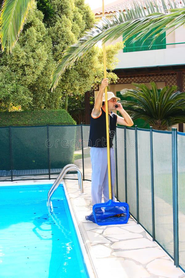 Download Swimming pool cleaner stock image. Image of palm, color - 14458947