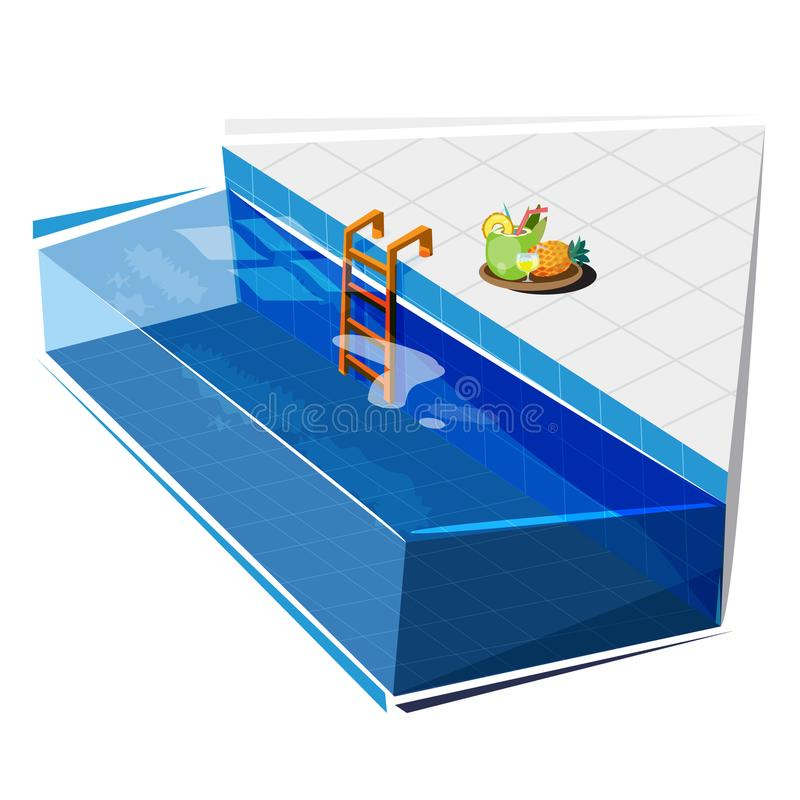 Swimming pool with coconut and pineapple juice, relax concept -. Vector illustration royalty free illustration