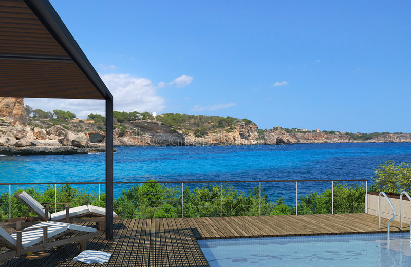 Swimming-pool com vistas fotografia de stock