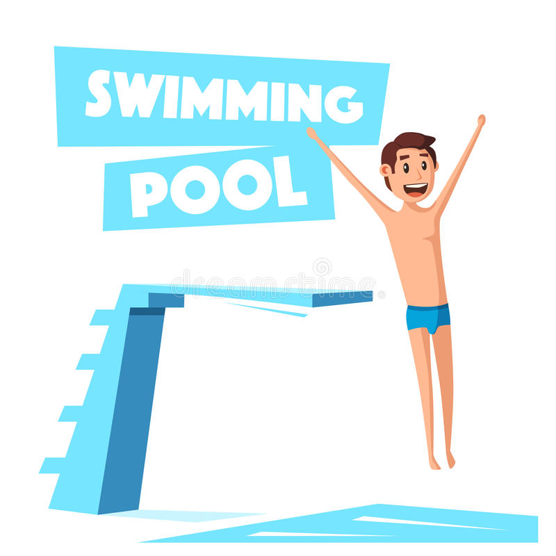 Swimming Pool With A Diving Board Cartoon Vector Illustration Stock Vector Illustration Of