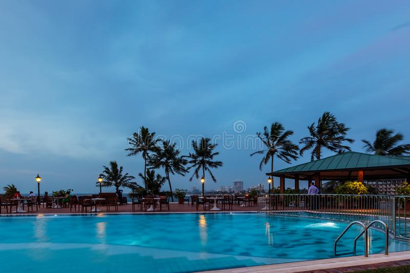 Swimming pool at dusk in Mount Lavinia, Sri Lanka royalty free stock images
