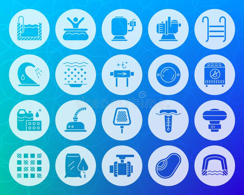 Pool equipment shape carved flat icons vector set. Swimming pool equipment icons set. Sign kit of construction. Repair pictogram collection includes pump stock illustration