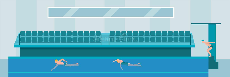 Swimming pool flat vector illustration vector illustration