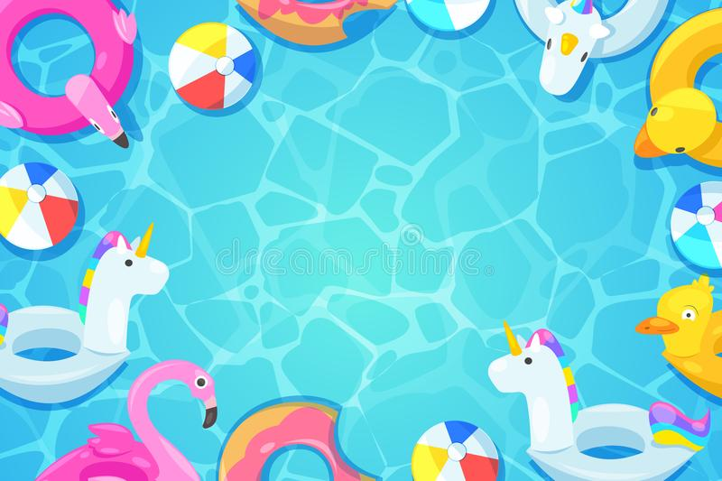 Swimming pool frame. Colorful floats in water, vector cartoon illustration. Kids toys flamingo, duck, donut, unicorn. Swimming pool frame. Colorful floats in vector illustration