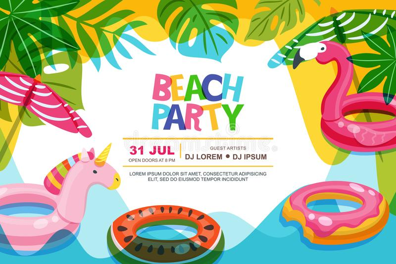 Swimming pool frame with flamingo and unicorn float kids toys. Beach party vector summer poster, banner design template. vector illustration