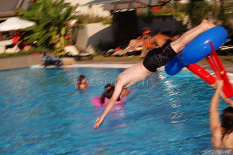 Swimming pool fun stock images