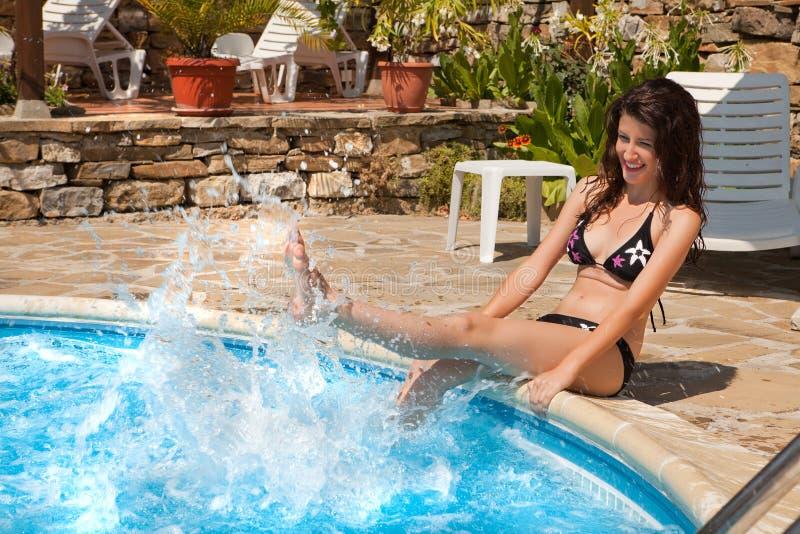 Swimming-pool fun stock images