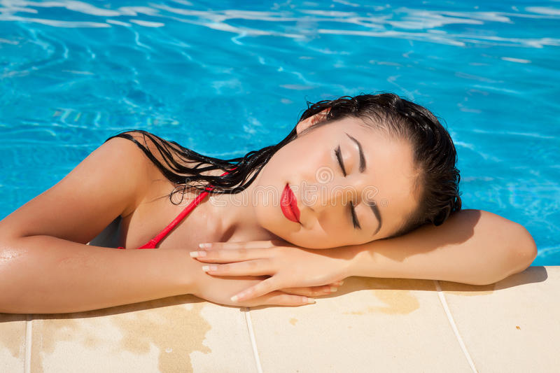 Download Swimming pool girl stock photo. Image of beautiful, holiday - 23191344