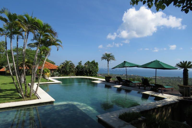 Swimming pool in hotel of bali royalty free stock photos
