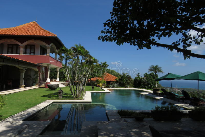 Swimming pool in hotel of bali stock images