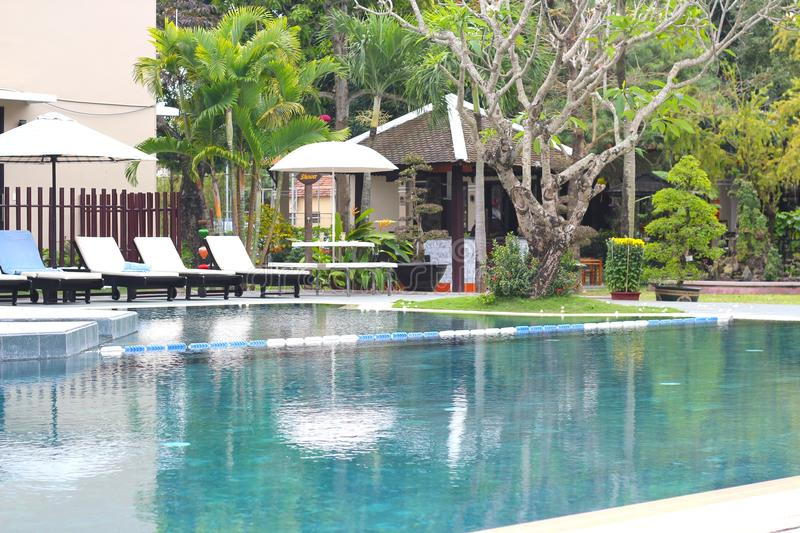 Swimming Pool of a Hotel in Hoi An, Vietnam stock photos