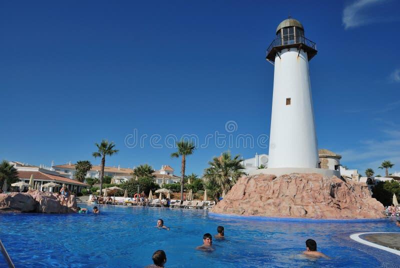 Swimming pool in hotel Riu Chiclana. Swimming pool in hotel Riu, Chiclana de la Frontera, Spain royalty free stock photo