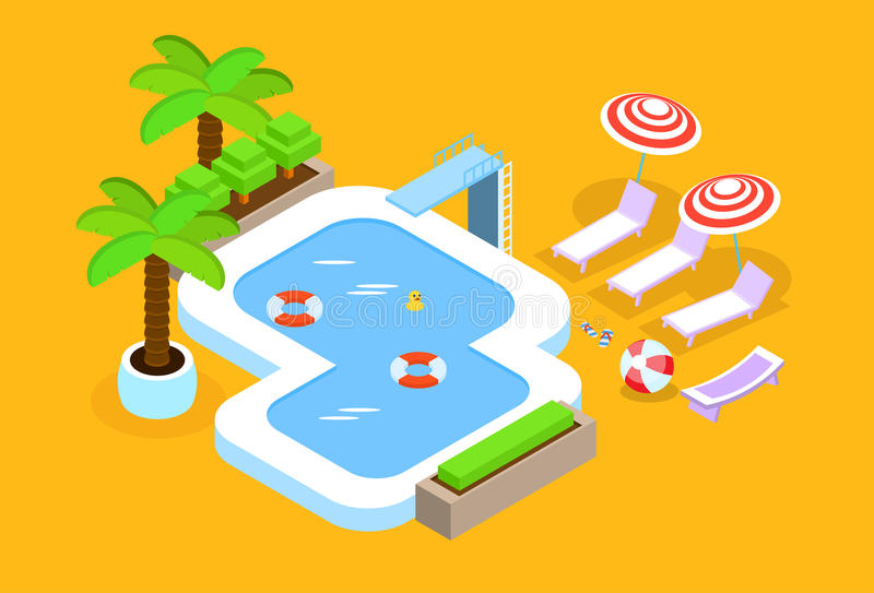 Swimming Pool Hotel Summer Vacation 3d Isometric Design royalty free illustration