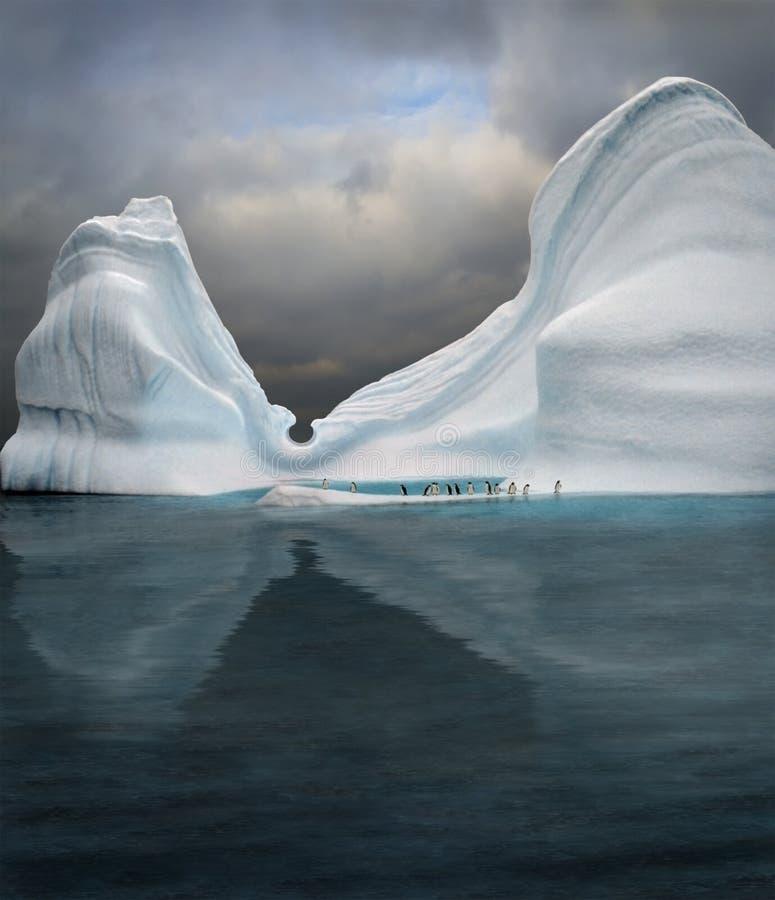 Swimming pool in iceberg. Iceberg with penguins looks like swimming pool stock photography