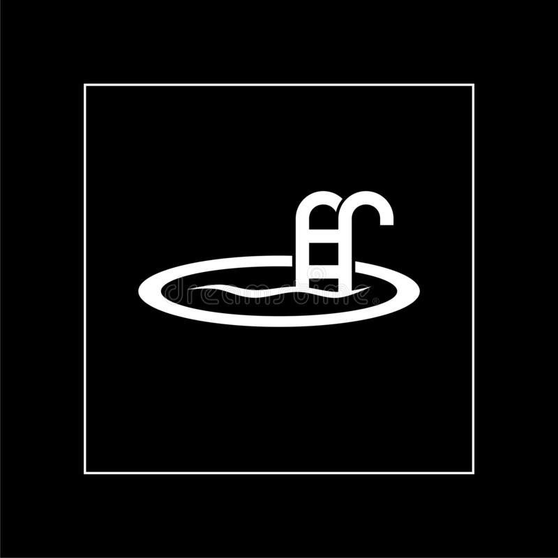 Swimming pool icon isolated on black background royalty free stock photo