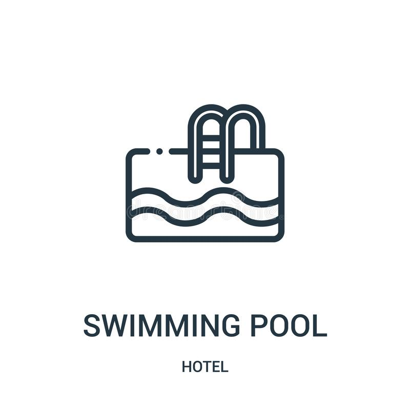 Swimming pool icon vector from hotel collection. Thin line swimming pool outline icon vector illustration. Linear symbol for use on web and mobile apps, logo vector illustration