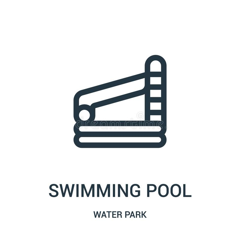 Swimming pool icon vector from water park collection. Thin line swimming pool outline icon vector illustration. Linear symbol for. Use on web and mobile apps stock illustration