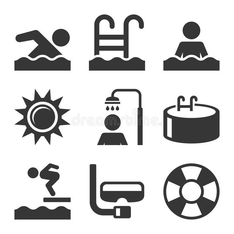 Download Swimming Pool Icons Set On White Background Vector Stock