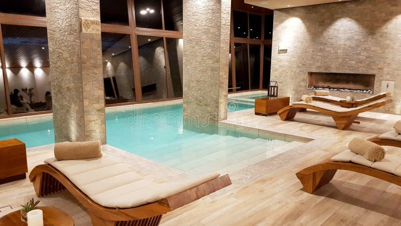 Swimming pool inside the splendid Hotel `Palacio de Sal` at the entrance of the Salar de Uyuni, Bolivia royalty free stock photos