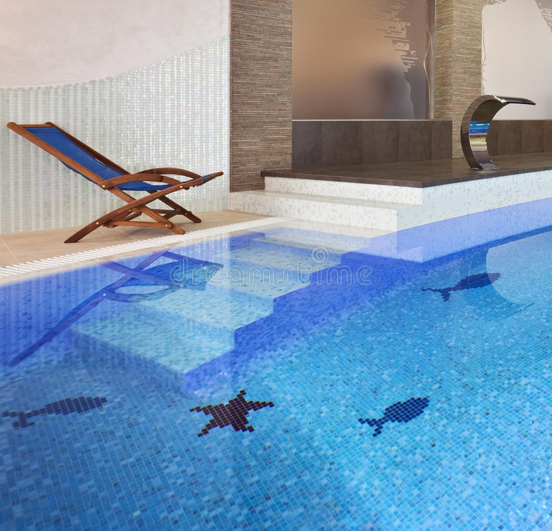 Swimming pool interior stock photography