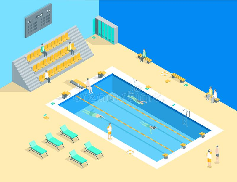 Swimming Pool Interior with People Isometric View. Vector stock illustration