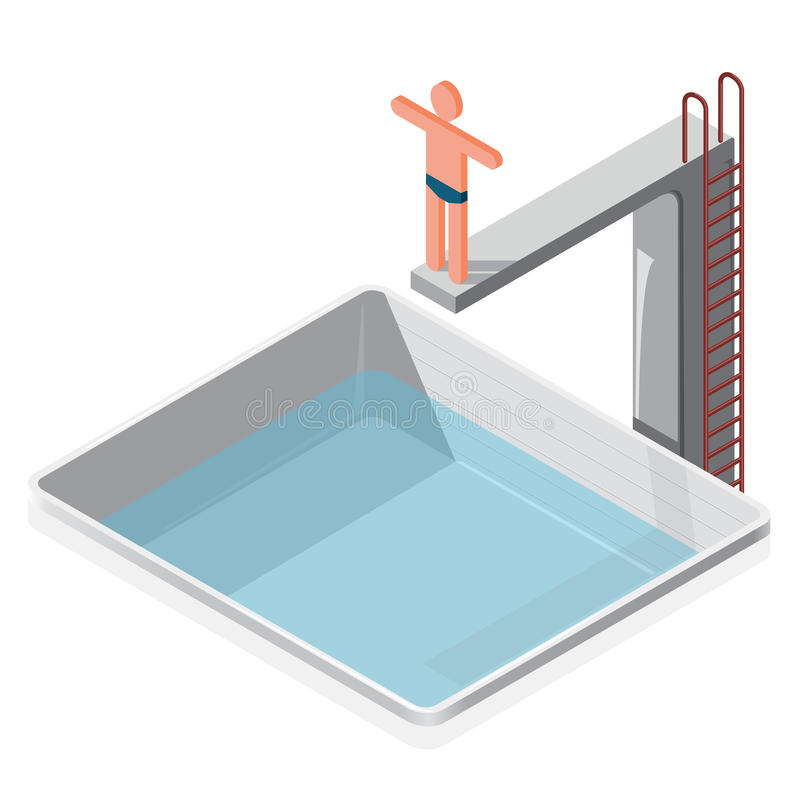 Swimming pool isometric. Sportsman in trunks prepares to water jumping. Swimming pool isometric. Sportsman in trunks on springboard prepares to water jump on vector illustration
