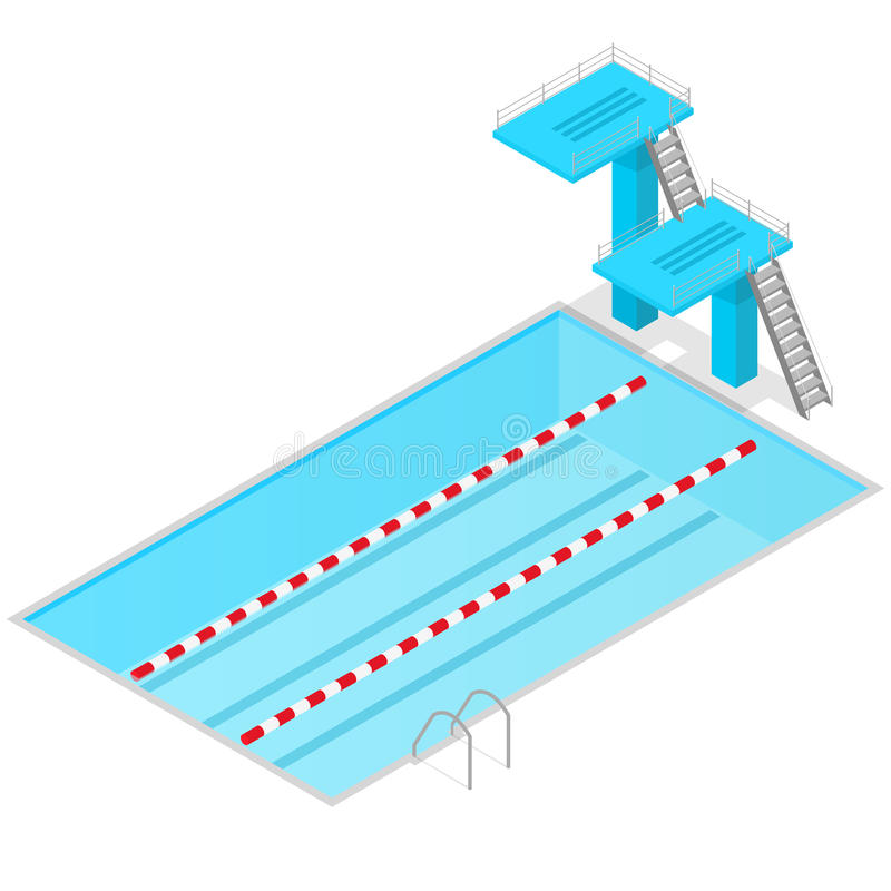 Swimming Pool Isometric View Indoors. Vector stock illustration
