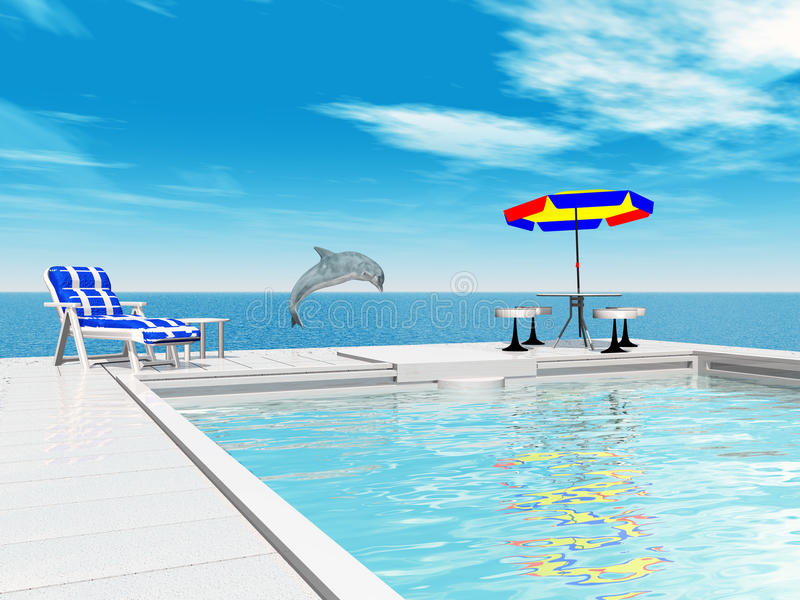 Swimming Pool And Jumping Dolphin Stock Illustration Illustration Of Clouds Vacation 43328718