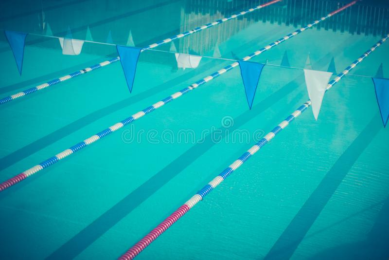 Lane Dividers For Racing In A Swimming Pool Stock Photo