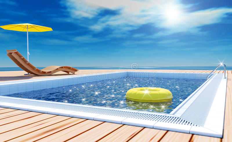 Swimming pool with life ring, beach lounger, sun deck on sea view for summer vacation. Blue swimming pool with yellow life ring floating on water surface, beach royalty free stock photos