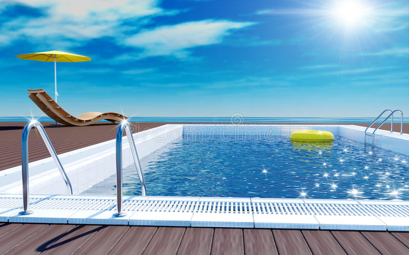 Swimming pool with life ring, beach lounger, sun deck on sea view for summer vacation. Blue swimming pool with yellow life ring floating on water surface, beach stock photo