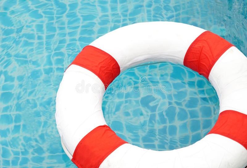 Swimming pool and lifeguard, Ring Pool royalty free stock photos