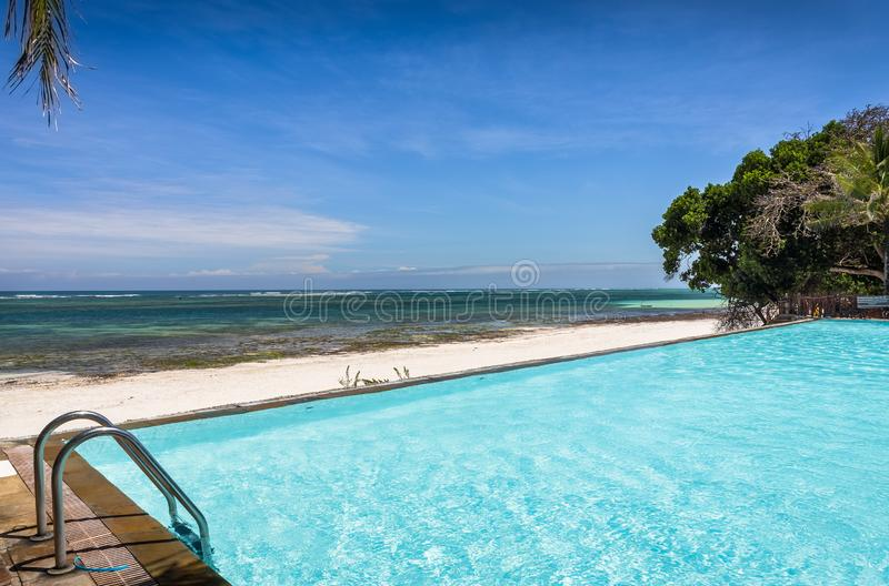 Swimming pool of luxurious african resort royalty free stock images