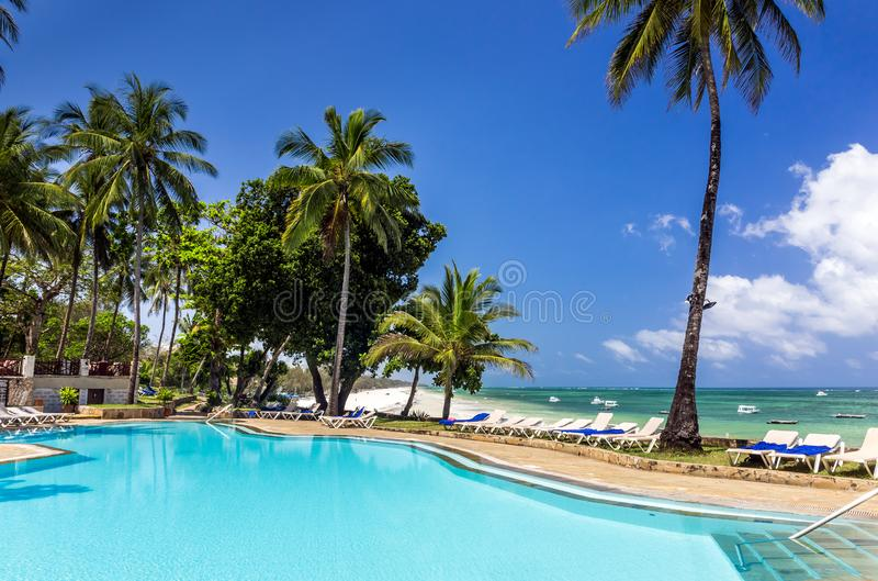 Swimming pool of luxurious african resort royalty free stock photography