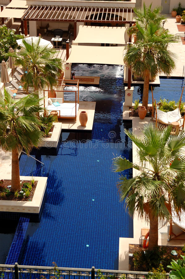 Swimming Pool At The Luxury Hotel Royalty Free Stock Photo