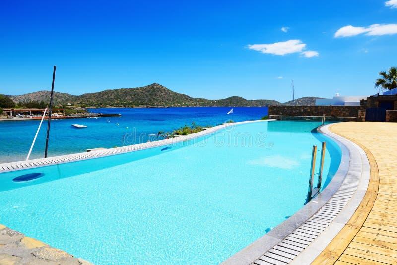 Swimming pool at luxury hotel. Crete, Greece stock image