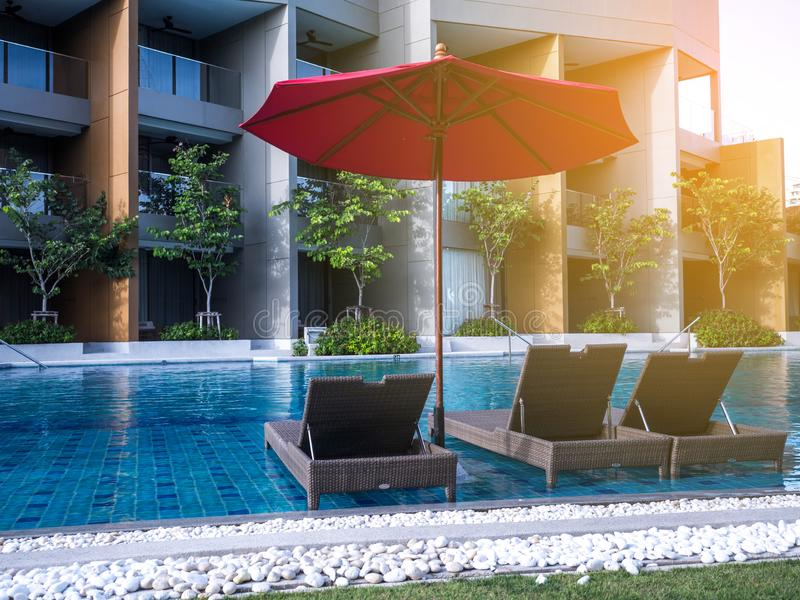 Swimming pool of luxury hotel; Editorial use only.  stock images
