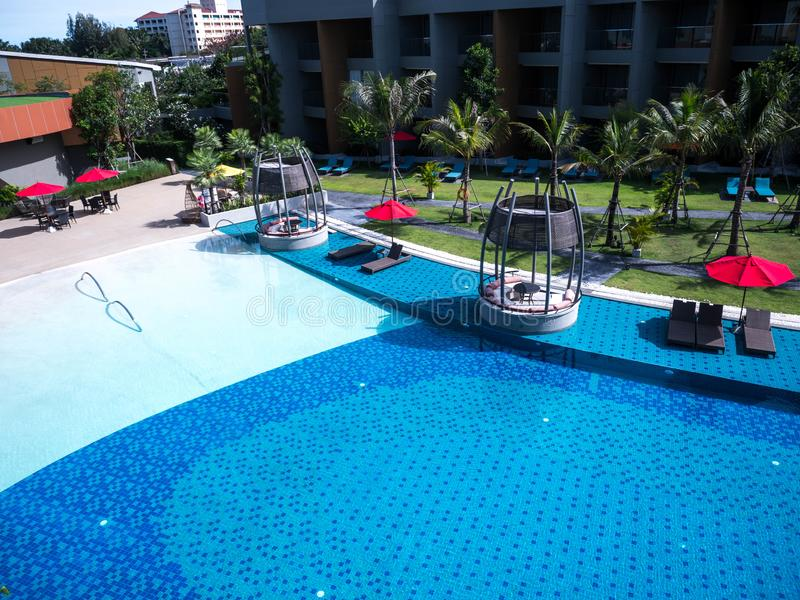 Swimming pool of luxury hotel; Editorial use only.  stock image